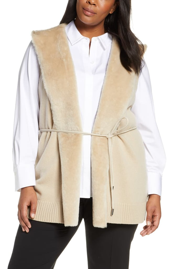 Lafayette 148 New York Wool & Cashmere Vest with Genuine Shearling Trim