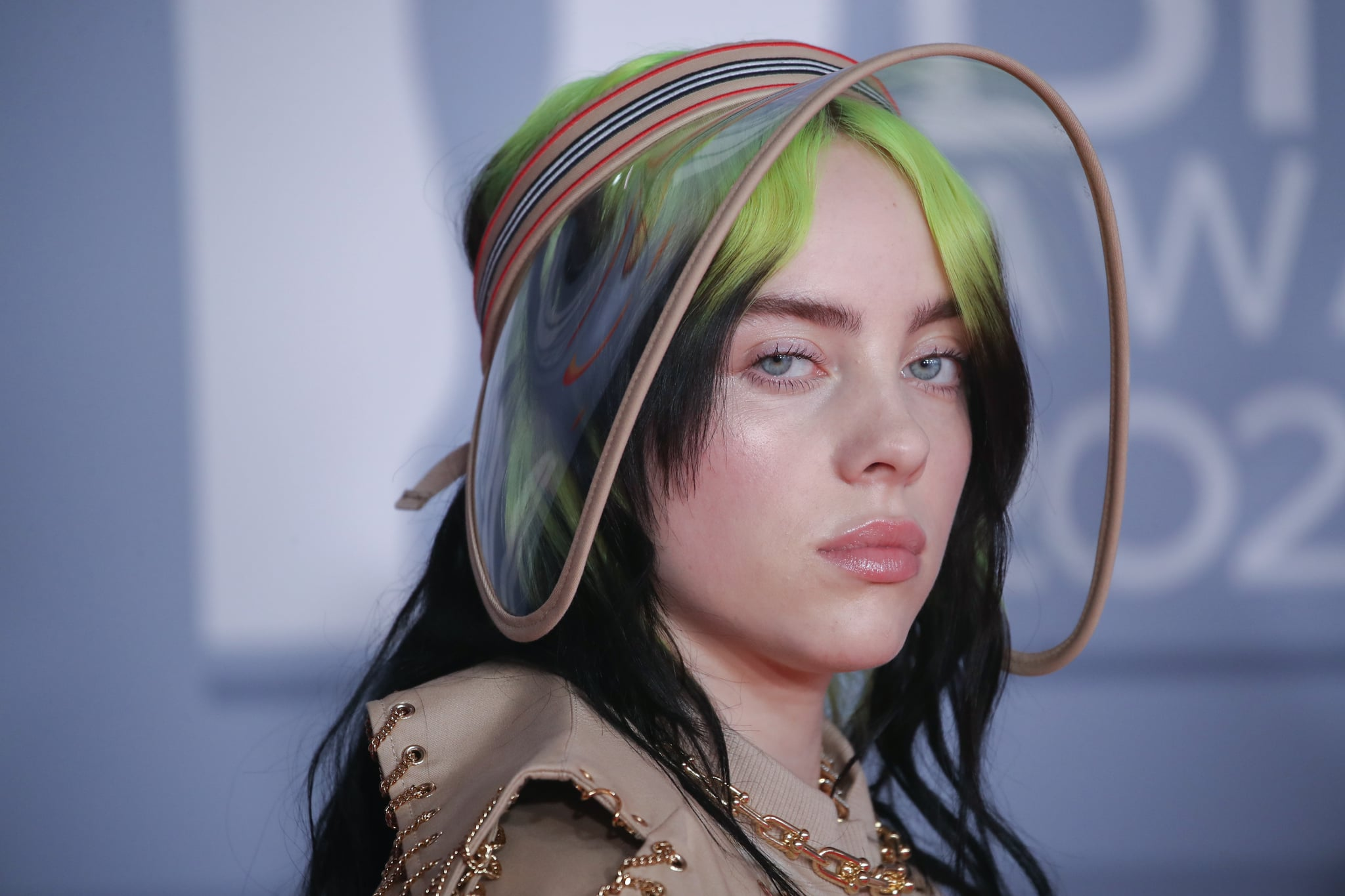 LONDON, ENGLAND - FEBRUARY 18: (EDITORIAL USE ONLY) Billie Eilish attends The BRIT Awards 2020 at The O2 Arena on February 18, 2020 in London, England. (Photo by Mike Marsland/WireImage)