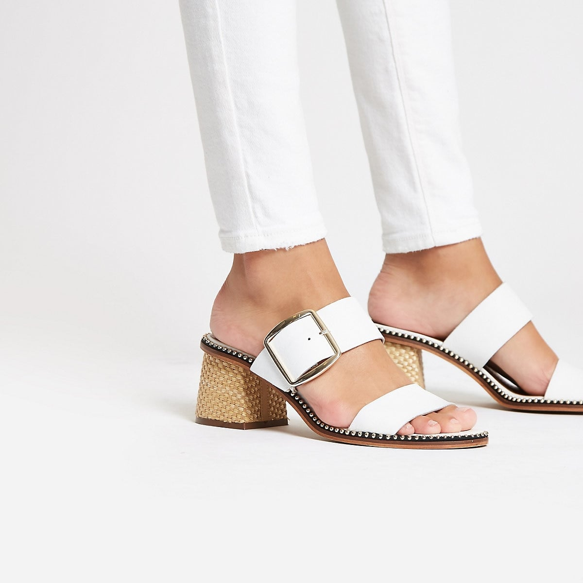 River Island White Leather Block-Heel