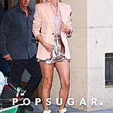 Taylor Swift Wearing a Pink Blazer and Sequined Shorts in NYC in June 2019