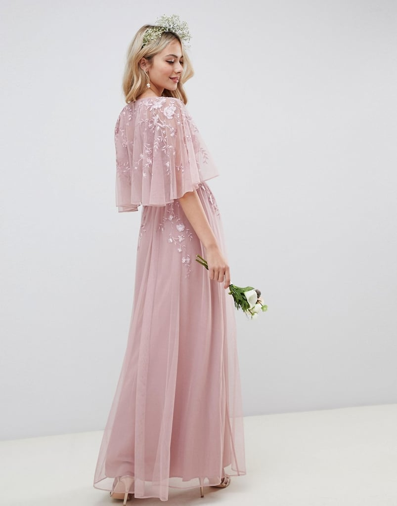 8276796c0 ASOS Design Maxi Dress With Cape Sleeve in Embroidered Mesh | The ...