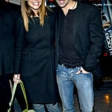Katie Holmes posed with her Phone Booth costar Colin Farrell at the film's NYC screening in March 2003.