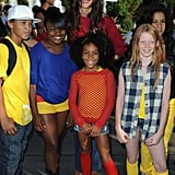 Katie Holmes with kids on National Dance Day.