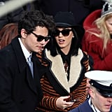John Mayer and Katy Perry looked sleek in their matching shades at the 57th presidential inauguration.