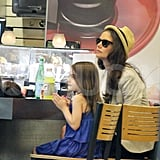 Katie Holmes and Suri Cruise stopped for a snack.