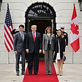 Melania Trump's Pinstripe Suit With Tie
