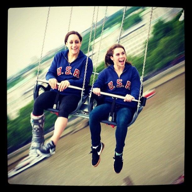 Jordyn Wieber and McKayla Maroney enjoyed a little spin on the swings in London. Source: Instagram user jordyn_wieber