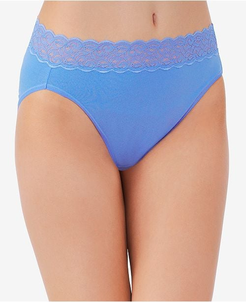 Vanity Fair Flattering Lace Cotton Stretch Hi-Cut Briefs