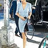Selena Gomez Wears Blue Rouje Dress Again