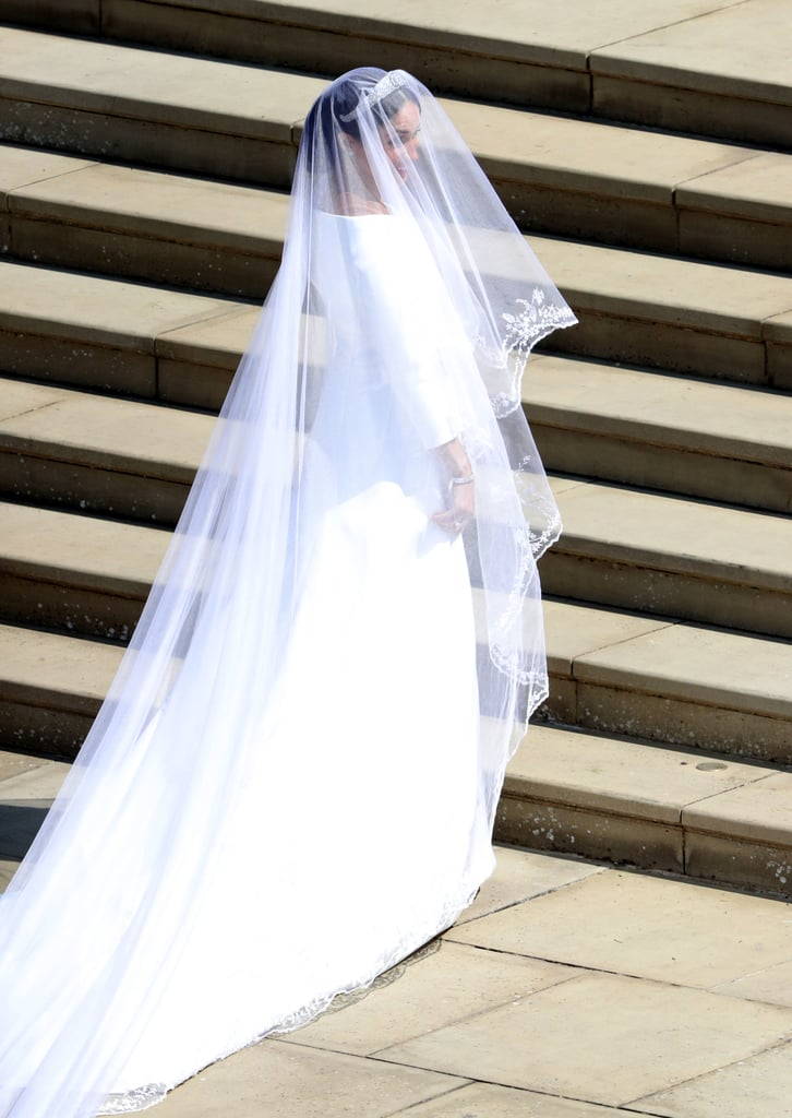 Meghan's stunning veil was designed by Givenchy's Clare Waight Keller.