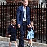 Prince William with George and Charlotte prior to the pair meeting their new baby brother, Louis.