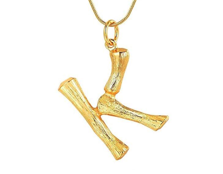Godyce 26 Letter Charm Bamboo Pendants Women Gold ($45)