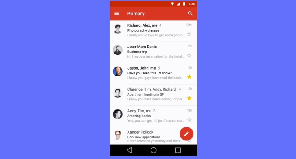 A cleaner Gmail on Android L.