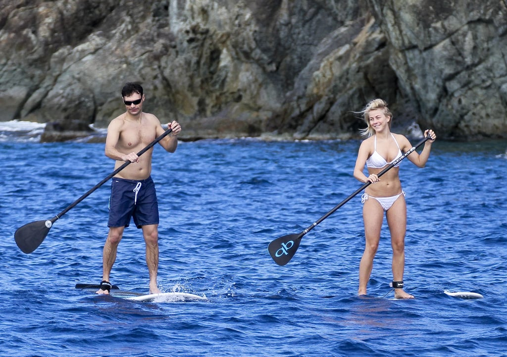 Ryan Seacrest and Julianne Hough doubled up on paddleboards while visiting St. Barts in January 2013.