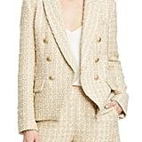 L'Agence Kenzie Double Breasted Metallic Tweed Blazer
