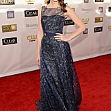Emmy Rossum sparkled in a dark blue gown at the Critics' Choice Awards.