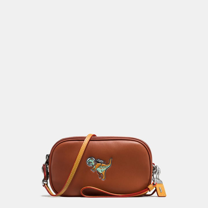 Coach Crossbody Clutch in Glovetanned Leather With Embossed Space Rexy