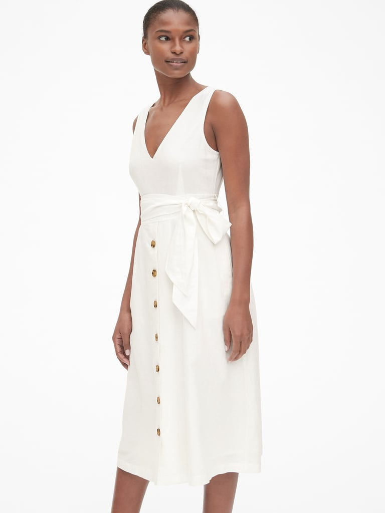 Gap Button-Front Midi Dress in Linen