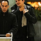 Orlando Bloom in a leather jacket.