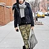 Camo print gave a tough (and on-trend) feel to a staple puffer; we love that she upgraded the look with cap-toe booties.