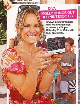 Molly Sims Plays With Her Crystal Encrusted Nintendo DS