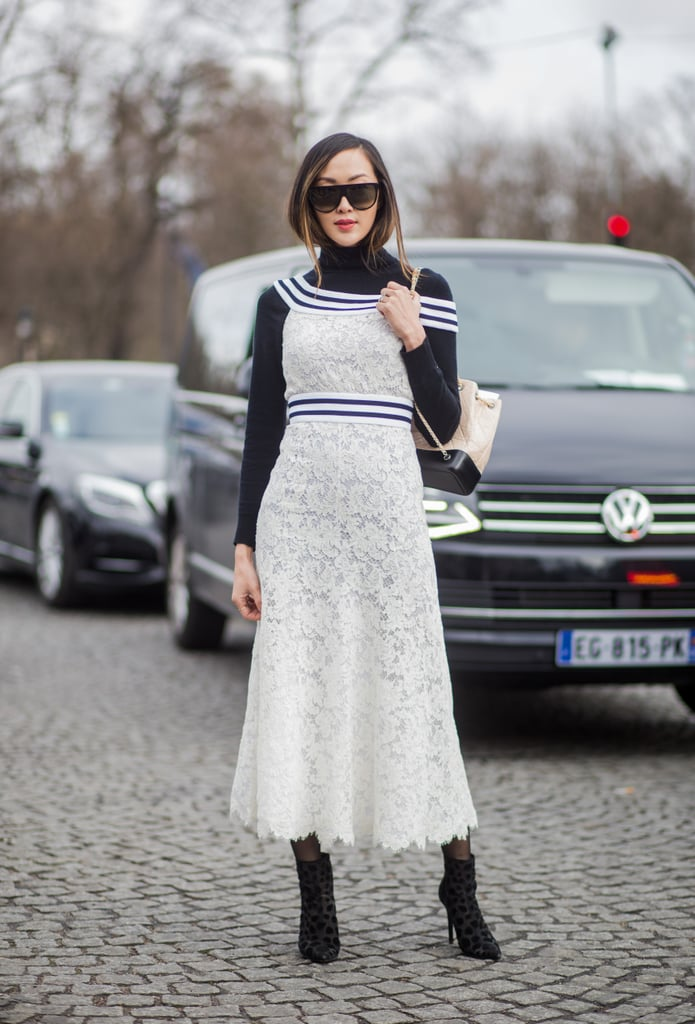 A Long Lace Dress Worn Over a Turtleneck