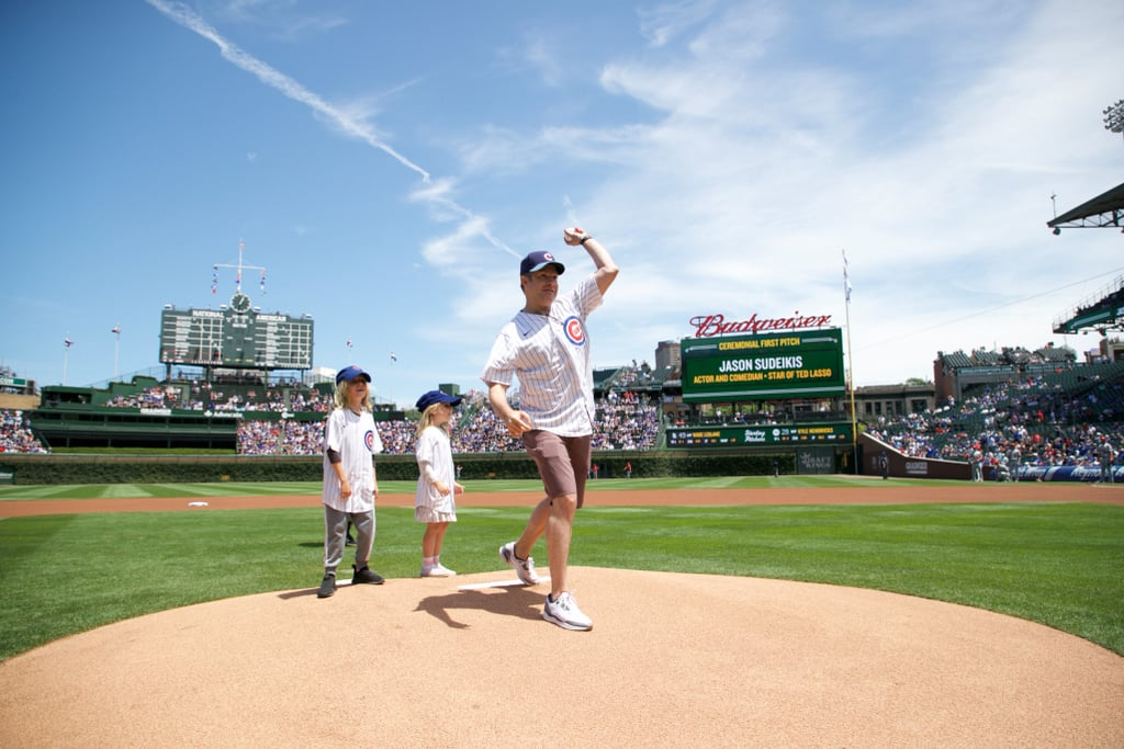 Jason Sudeikis Throws Out First Pitch With His Kids | Photos