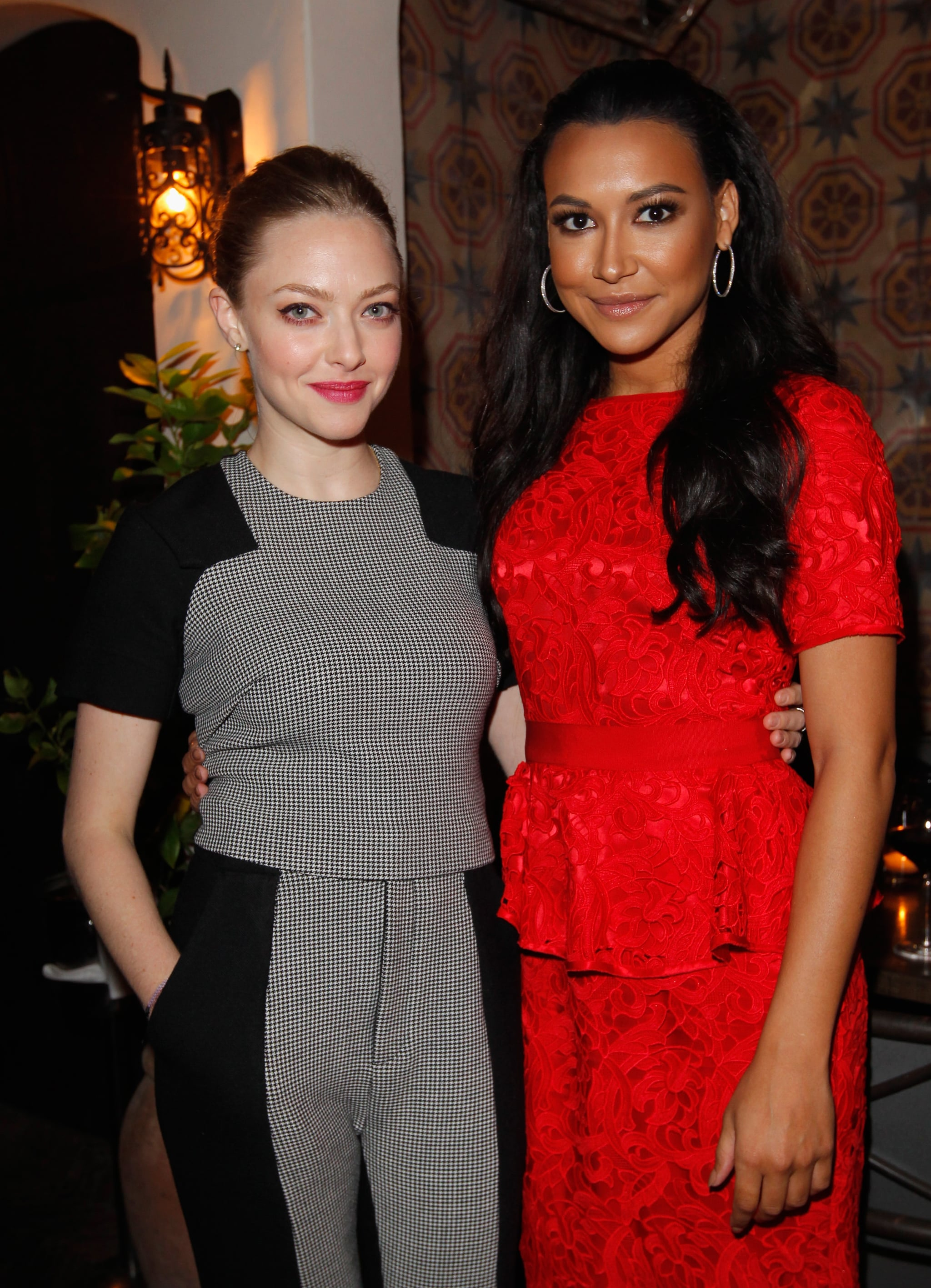 Amanda Seyfried and Naya River posed together at Allure magazine's Look Better Naked issue launch party.