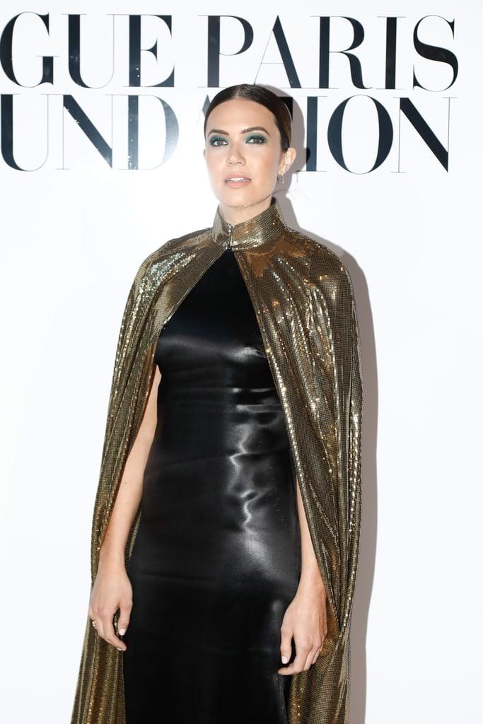 Mandy Moore in Gold Cape in Paris