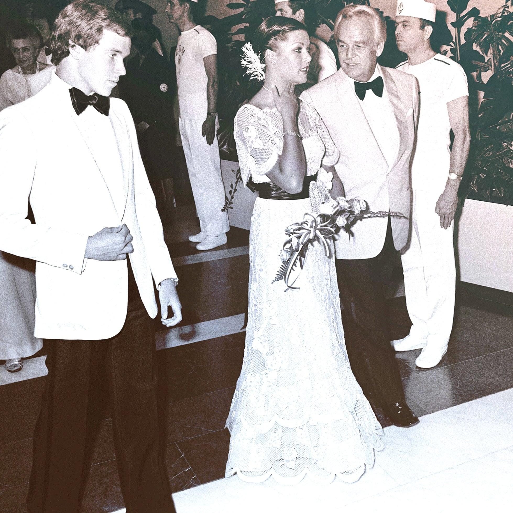 Prince Albert, Princess Caroline, and Prince Rainier at the Red Cross Ball in 1976