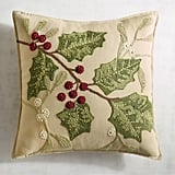 Traditional Holly Leaves Pillow ($35)