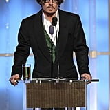 Johnny Depp at the Golden Globes.
