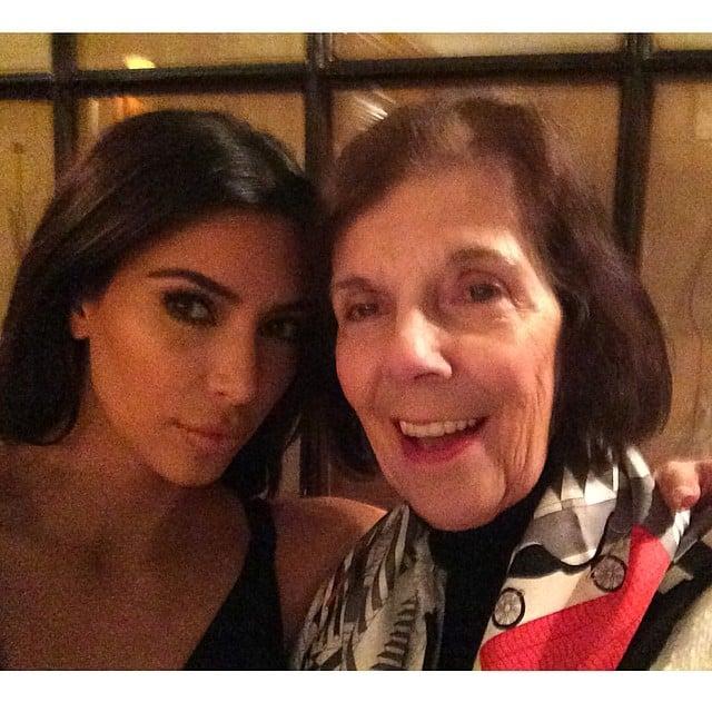 "Kim and her grandma ""MJ"" celebrated MJ's first trip to Paris.  Source: Instagram user kimkardashian"