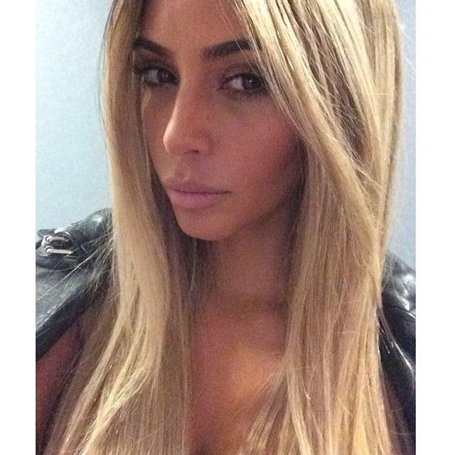 Kim Kardashian revealed her new blond 'do . . . but it's just a wig! Source: Instagram user kimkardashian