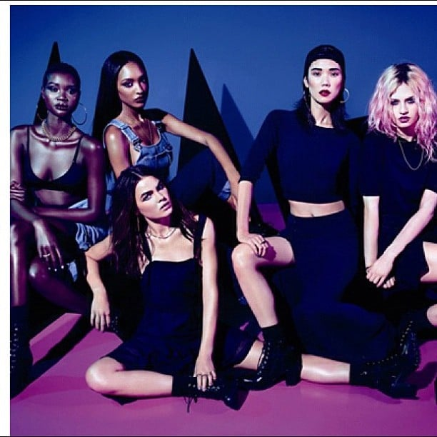 "Rihanna shared this picture of models wearing her collection for River Island, along with the caption: ""Look at my girls!! I'm so proud! My first ad campaign that I directed!!! Thank you River Island for allowing me to show you what I got #RIHforriverisland."" Can you spot Aussie model Bambi in amongst the mix? Source: Instagram user badgalriri"