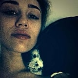Miley Cyrus snuggled up with one of her pups. Source: Instagram user mileycyrus
