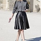 """Jane Keltner was spotted wearing a softly pleated version during this past Paris Fashion Week. Shop the look: <iframe src=""""http://widget.shopstyle.com/widget?pid=uid5121-1693761-41&look=4084673&width=3&height=3&layouttype=0&border=0&footer=0"""" frameborder=""""0"""" height=""""244"""" scrolling=""""no"""" width=""""286""""></iframe> Photo by Greg Kessler"""