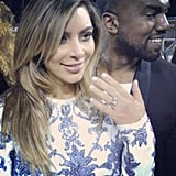 On Oct. 21, Kanye proposed to Kim in an over-the-top manner. He rented out San Francisco's AT&T Park for a celebration for Kim's 33rd birthday attended by family and friends and presented her with a 15-carat diamond ring from jeweler Lorraine Schwartz.  Source: Instagram user clydehairgod
