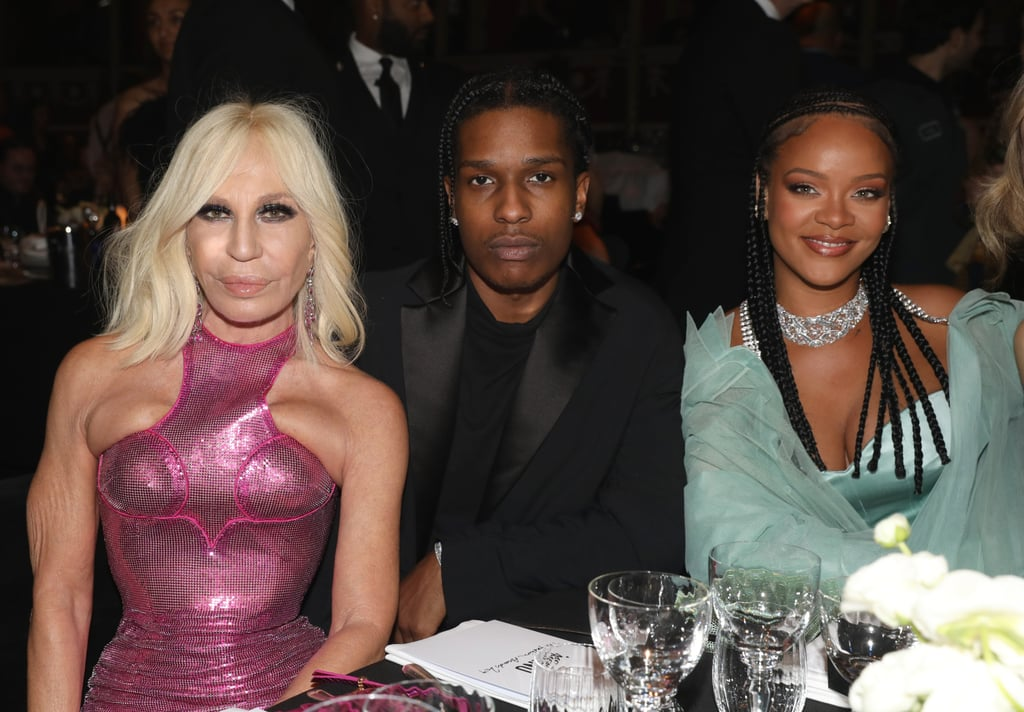 Donatella Versace, A$AP Rocky, and Rihanna at the British Fashion Awards 2019 in London