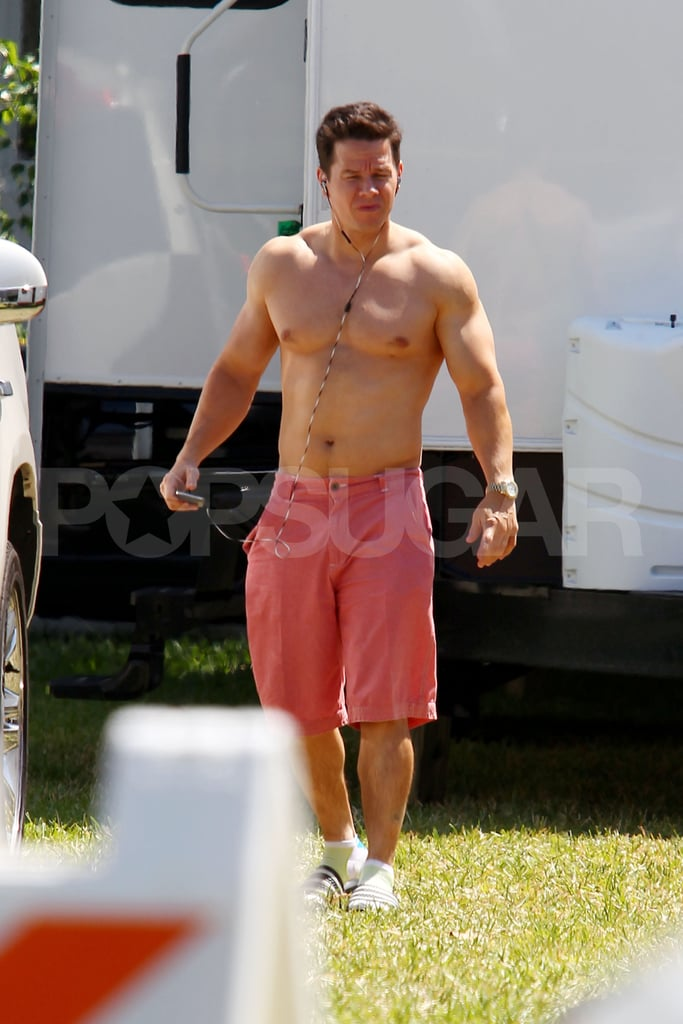 Mark Wahlberg shirtless in shorts.
