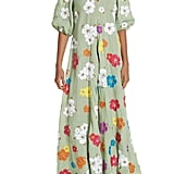 All Things Mochi Tila Embroidered Linen Maxi Dress