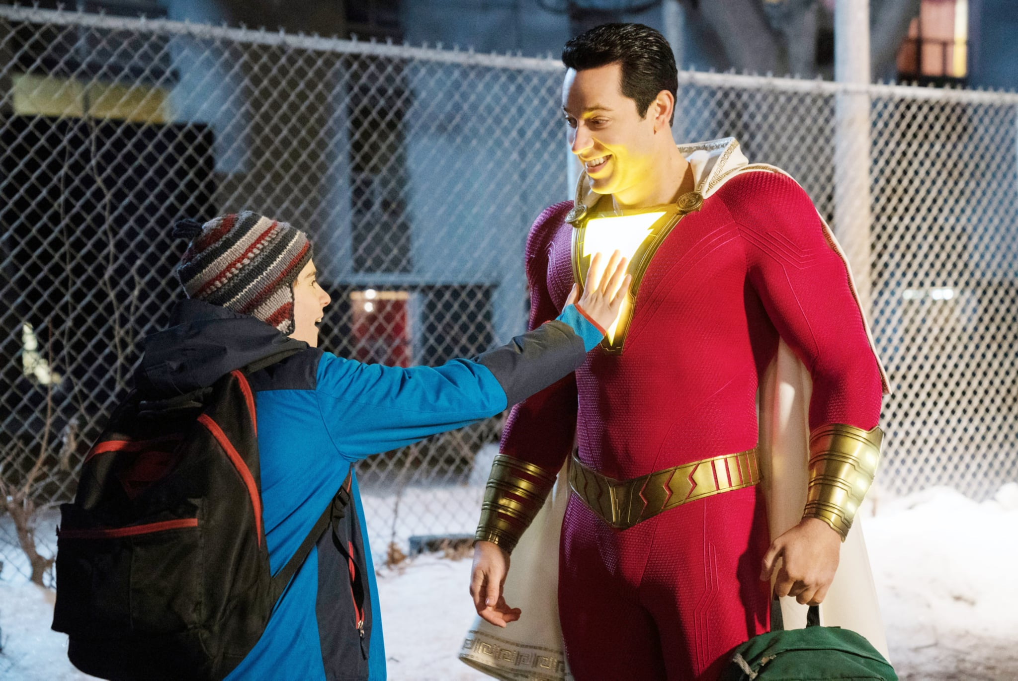 SHAZAM!, from left: Jack Dylan Grazer, Zachary Levi as Shazam, 2019. ph: Steve Wilkie /  Warner Bros. /Courtesy Everett Collection