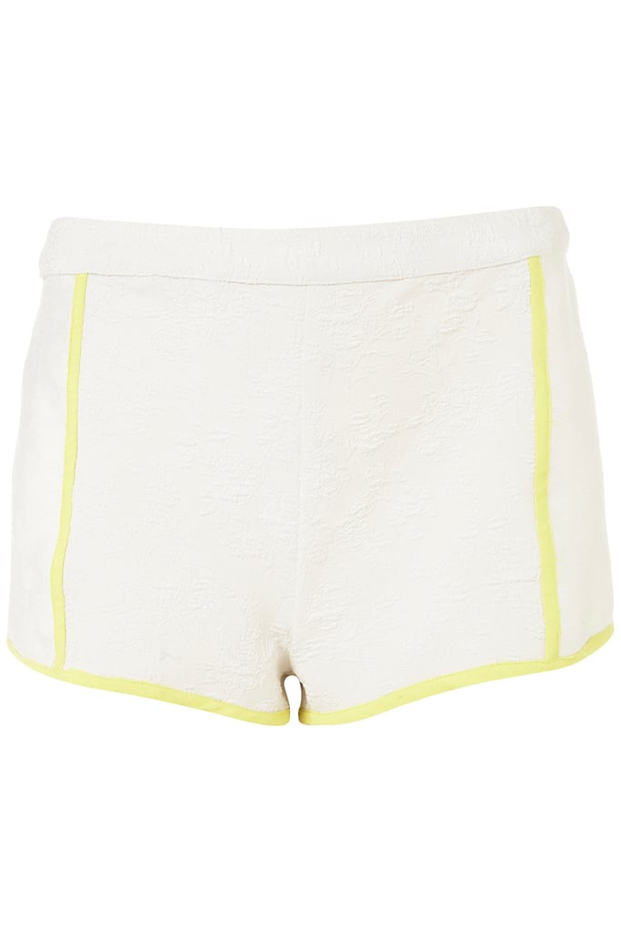 Get on the sporty (and just a little sexy) side of the tennis style with a pair of leg-baring Summer white shorts.  Topshop Jacquard Bound Knicker Shorts ($60)
