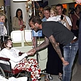 David Beckham shook hands with the young patients.