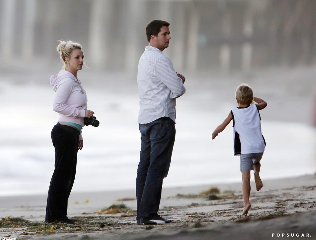 Britney Spears went to the beach with family.