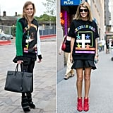 Both Sarah Ruston (at left) and a trendsetting showgoer showed their affinity for Givenchy's American dream pullovers.