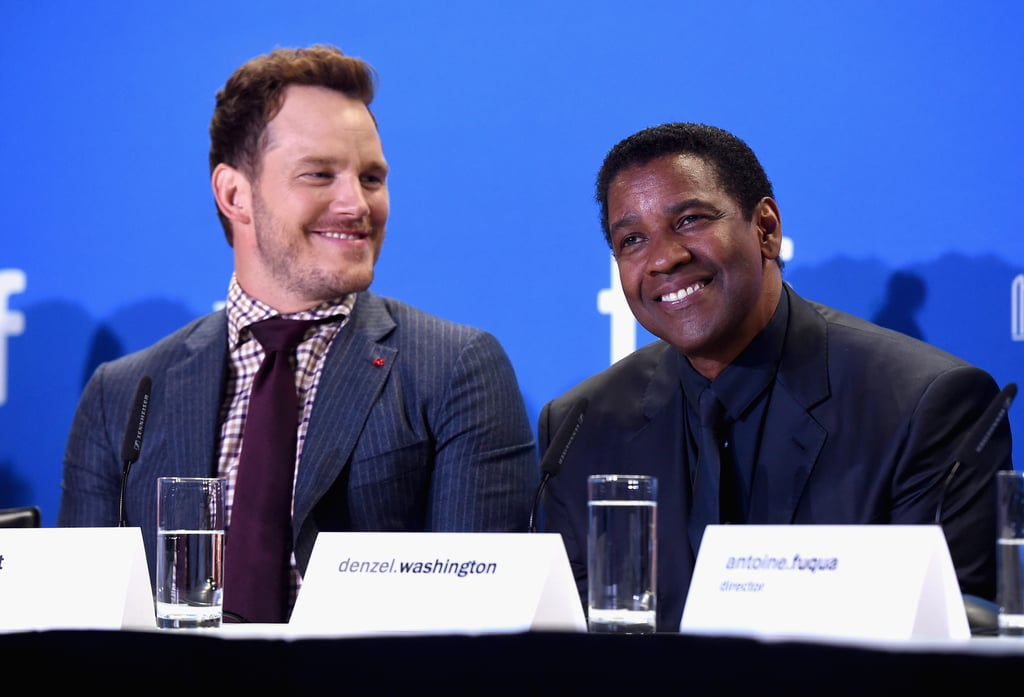 Chris Pratt and Denzel Washington attended a press conference for their new film The Magnificent Seven at the Toronto International Film Festival on Thursday. The two sat next to each other during the panel, and in between answering questions, Denzel and Chris shared a few laughs and looked to be having so much fun together, it's like director Antoine Fuqua wasn't even right beside them. After the conference, the pair continued to show off their cute bond at the movie's red carpet premiere, where they cracked each other up while posing for photos. The actors are already garnering praise for their onscreen chemistry in the action flick, which is a remake of the 1960s Western and stars Denzel and Chris, along with Ethan Hawke, Vincent D'Onofrio, and Lee Byung-hun, as gunslingers who are seeking vengeance against a villainous Peter Sarsgaard. Not only are we excited to catch the movie when it hits theaters on Sept. 23, but we're also glad to see that Denzel loves Chris just as much as we do.