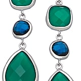 Andara Pear Green Onyx Blue Glass Earrings ($125)