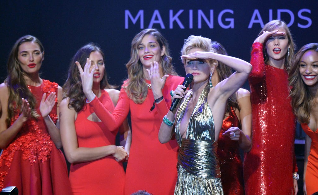 Sharon Stone took the amfAR gala stage with several ladies in red, including models Alessandra Ambrosio and Karlie Kloss.