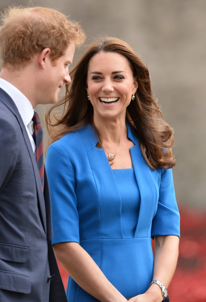 She looked happy to be hanging out with Prince Harry and Prince William when they visited the Tower of London in August 2014.